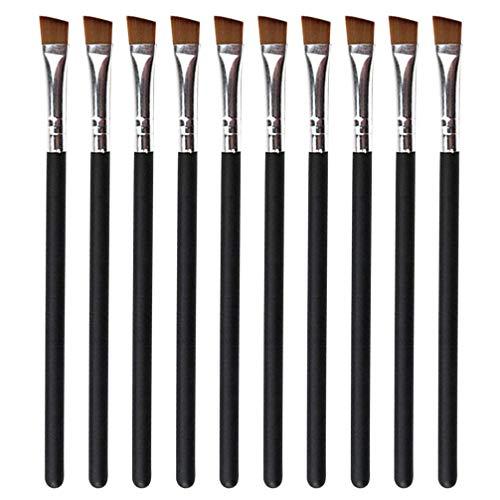 FRCOLOR 10Pcs Pinceau à Sourcils Incliné Brosses Plates en Nylon Manche en Bois Brosse de Maquillage Fournitures Cosmétiques Noir