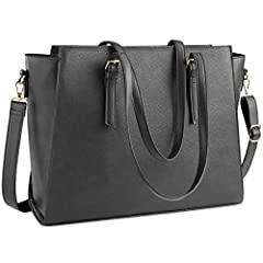 Durable Laptop Bag for Women - Made of super soft premium waterproof PU leather and polyester lining,sturdy top handle zipper and professional padded pocket,keep your laptop and essentials safe. The simple solid colors make this large business woman ...