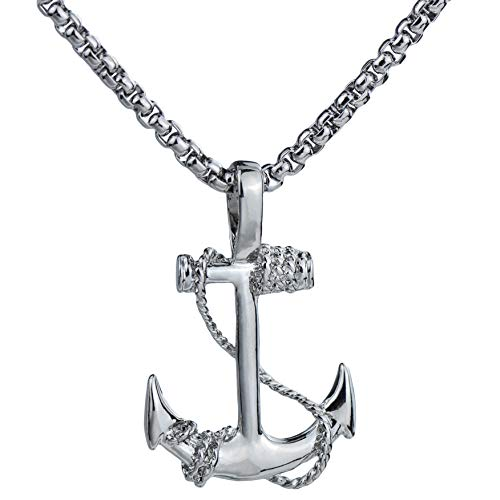 Couple Nautical Anchor Pendant Necklace Chain Silver Crew Jewelry Holiday Gift for men&womens