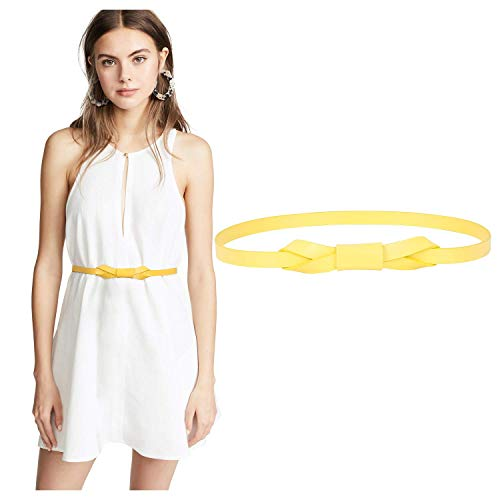 JASGOOD Women PU Leather Skinny Belt for Dress Adjustable Thin Waist Belt for Lady, Suit for Waist Size 27-32 Inches, C-Yellow