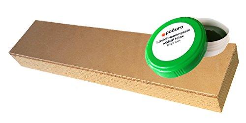 PODURO Streichriemen und Pasten-Set Kombi « Abziehleder auf Holz und Chromoxid Schleifpaste zum Messer abziehen