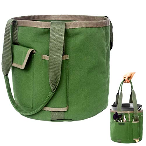 Gardening Tools Bucket Tote with Pockets - Garden Organizer Bag for Women, Great Sturdy Canvas, Large 5 Gallon Tool Storage Set for Gardener (Bag Only/No Tools)