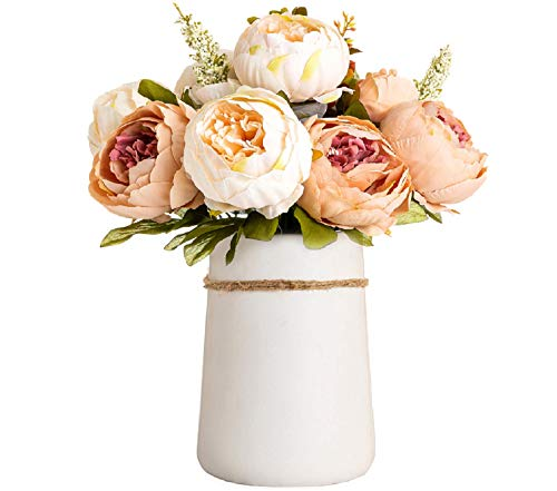Queen BEE Artificial Flowers in VASE. 14' Silk Peony Fake Flowers Arrangements with Ceramic VASE Included for Dining Table Centerpieces Decoration. Table Home Office Wedding (Champagne)