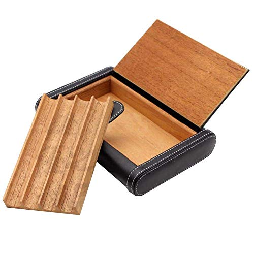 CLJ-LJ Puede contener 4 cigarros caja de cigarrillos portátil de viaje de cuero forro de pino multifuncional caja de regalo ble negro de los hombres de la oficina de Nueva clásica humidificador de cig