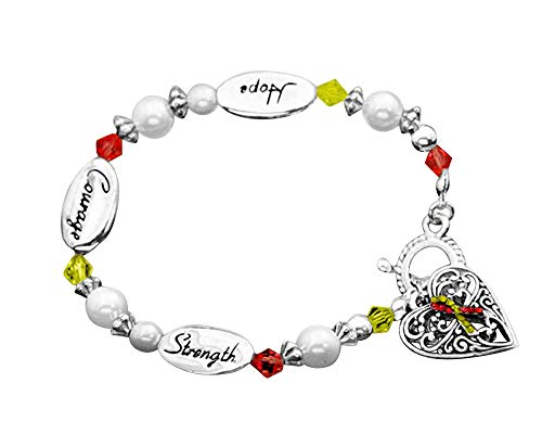 Fundraising For A Cause | Red & Yellow Ribbon Awareness Bracelets – Red & Yellow'Hope, Courage, Strength' Charm Bracelets for Hepatitis C, HIV/HCV Co-Infection and COVID-19 Awareness (5 Bracelets)
