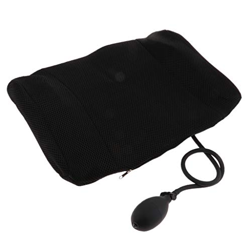 IPOTCH Premium Aufblasbar Rücken-Kissen, Rückenstütze aus Mesh, Lendenkissen Fördert Gesunde Sitzhaltung, Rückenstützkissen Zur Rückenentlastung - Schwarz