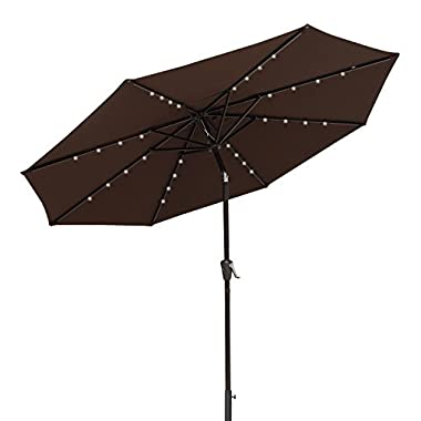 COBANA 9 Ft Deluxe Tilting Solar Powered 32 LED Lighted Aluminum Patio Table Umbrella, 100% Polyester, Coffee