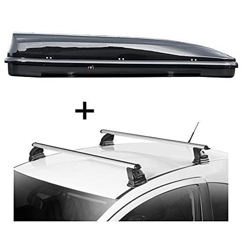 Dachbox VDPFL460 460 Liter schwarz glänzend + Dachträger VDP EVO ALU kompatibel mit Mercedes CLA Shooting Brake (X117) 5 Türer 2015-2019