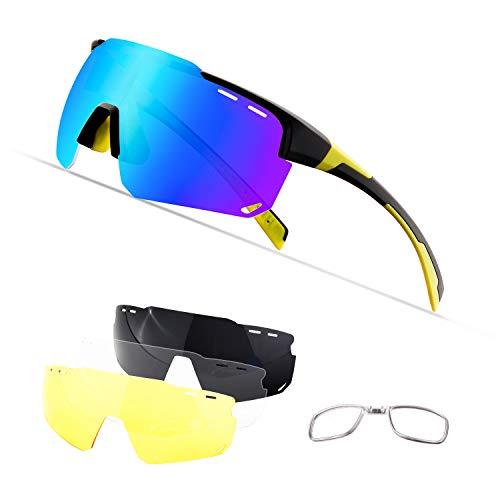 OULIQI Radbrille Polarisierte Sportbrille Fahrradbrille mit UV-Schutz 4 Wechselgläser für Herren Damen, für Outdooraktivitäten wie Radfahren Laufen Klettern Autofahren Angeln Golf (Schwarz gelb)