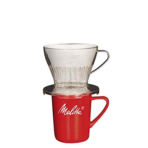 Melitta Kaffee-Set, Kaffeehalter für Filtertüten und Porzellan-Tasse, Kaffeefilter 1x2 Premium, Kunststoff und Porzellan, Transparent und Rot, 217946