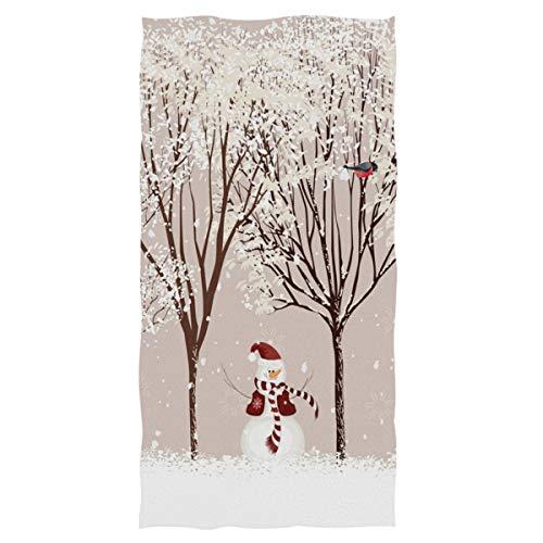 Winter Snowman Bird Tree Snow Hand Towels 16x30 in Bathroom Towel, Christmas X-mas Small Bath Towel for Hand,Face,Gym and Spa Bathroom Decor Gifts