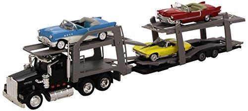 New Ray - 15215 Bss - Véhicule Miniature - Modèle À L'échelle - Camion Américain Transport Auto + 3 Voitures Vintage - Echelle 1/43