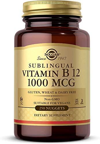 Solgar | Vitamina B12 1000 Mcg (Cianocobalamina) | Energía, Equilibrio Psicológico, Reduce el Cansancio | 250 comprimidos masticables sublinguales | Sabor Cereza Natural