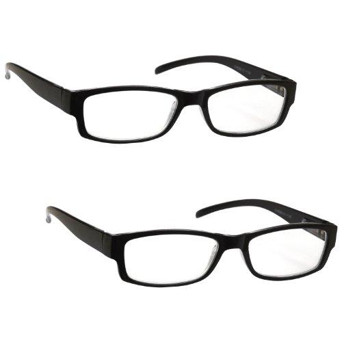 The Reading Glasses Company Gafas De Lectura Negro Ligero Cómodo Lectores Valor Pack 2 Estilo...