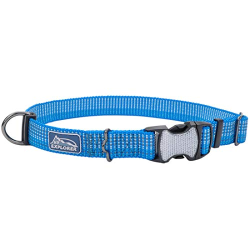 Coastal - K-9 Explorer - Brights Reflective Adjustable Dog Collar, Lake, 5/8' x 12'-18'