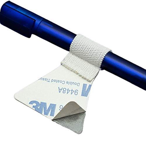 3 Stück Stiftschlaufe selbstklebend, weiß - Pen Loop, Stifthalter für Notizbuch, Kalender, Tablet, Ordner, Seminarunterlagen (weiß, premium)