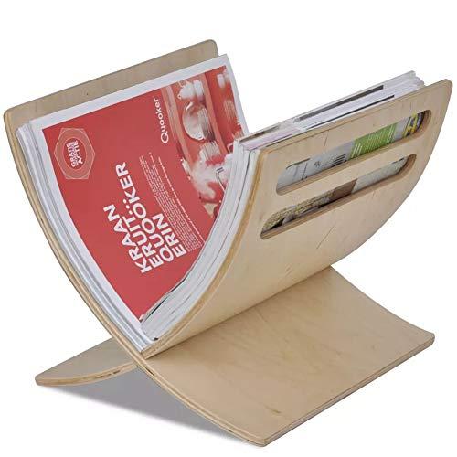Zeitschriftenständer aus Holz, Stehender Zeitungsständer Bücherregal Ausstellungsregal Zeitungsaufbewahrung Halter für Zuhause, Büro, Wohnzimmer, 29,5 x 29,5 x 26,5 cm (Natur)