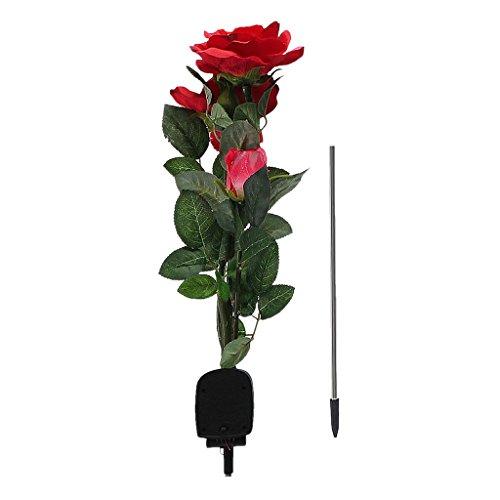 3-Tête LED Rose Lampe Solaire Lumière Décorative pour Chemin Patio Terrasse de Jardin - Rouge