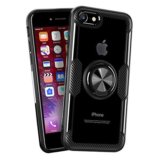 iPhone SE 2020 Case/iPhone 7Case/ iPhone 8 Case, Carbon Fiber Design Clear Crystal Case with Finger Ring Holder Kickstand for iPhone 7/8/SE 2020, Black