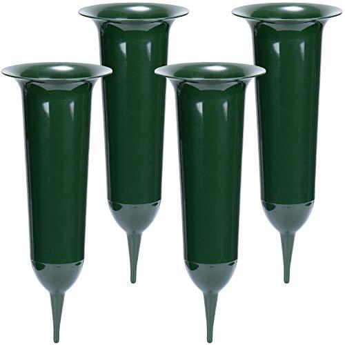 com-four® 4X Grabvasen - Friedhofsvase mit Erdspieß - Steckvase als Grabschmuck (04 Stück - Grab-Vase)