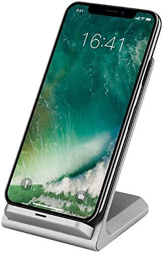 Callstel i Phone Caricabatterie: Stazione di Ricarica Rapida per Smartphone compatibili con Qi, 5 V, 10 W, Argento (Induttivo Caricabatterie)