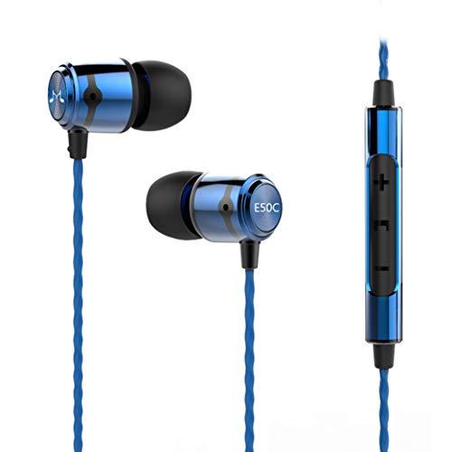 In Ear Kopfhörer, SoundMAGIC Stereo Ohrhörer mit Mikrofon, Ohrstöpseln und Premium HiFi-Klang, Noise Isolation Sleep Headset Smartphone Earbuds (E50C,Blau)