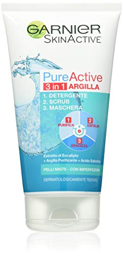 Garnier -Pure Active 3 in 1 Cleanser + Scrub + Mask for Mixed Skin - Avec imperfections, 150 ml