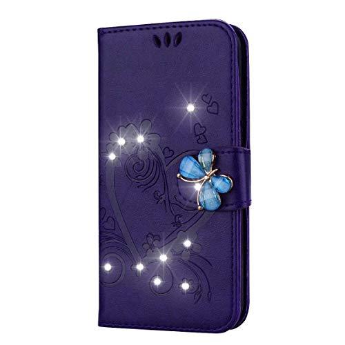 iPhone XR Hülle, SONWO Premium Glitzer Strass Flip PU Leder Handyhülle mit Diamant Magnetverschluss und Ständer Funktion für Apple iPhone XR, Lila
