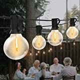 Guirnaldas Luces Exterior, Yuusei 7,6M Guirnaldas Luminosas de Exterior con 12+1 LED Bombillas IP45 Impermeable G40 Cadena de Luces Exterior par Jardín, Terraza, Patio - Blanco Cálido