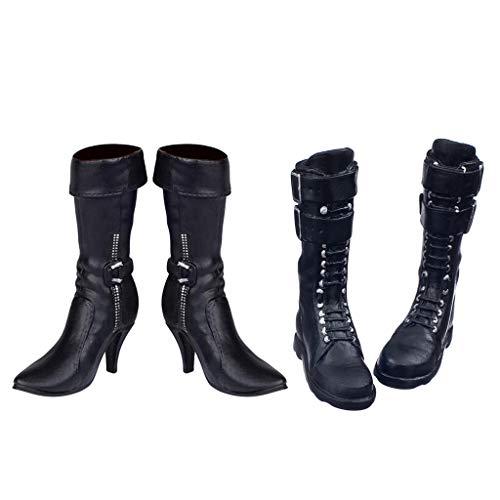 P Prettyia 2 Paar 1/6 Hochhackigen Stiefel Schuhe Für 12'' Weibliche Aktion Figur Kleidung Zubehör