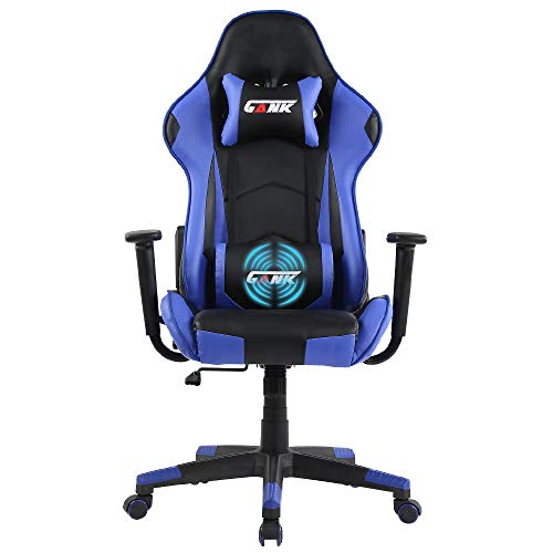 GANK Gaming Chair Racing Office Computer Chair High Back PU Leather Swivel Chair with Adjustable Massage Lumbar Support and Headrest(Blue)