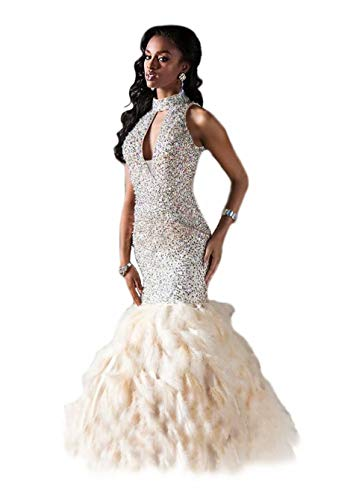 Andybridal Mermaid High Neck Feather Rhinestone Sequin Prom Dress 2017 Long Evening Gown