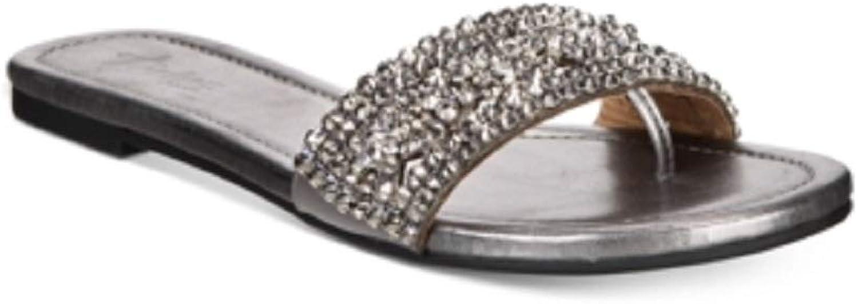Thalia Sodi kvinnor kvinnor kvinnor Jozie Embalised Flat Sandals Pewter 7.5 M USA  Fri frakt på alla beställningar