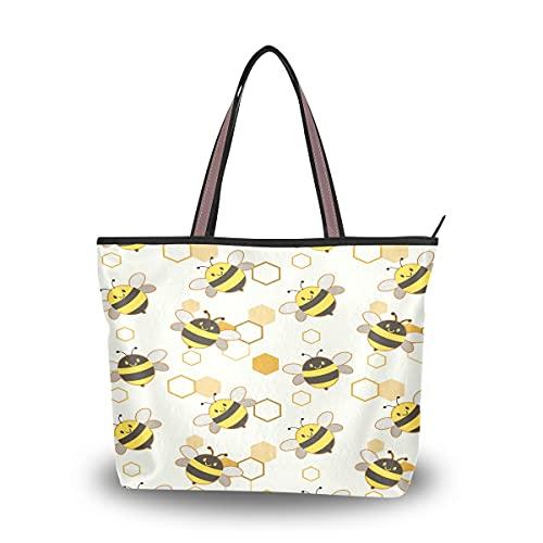 HMZXZ Animal Bee Hexágono Bolsos y Monedero para Mujeres Bolso de mano de gran capacidad asa superior bolsa de hombro Shopper, color Multicolor, talla Large