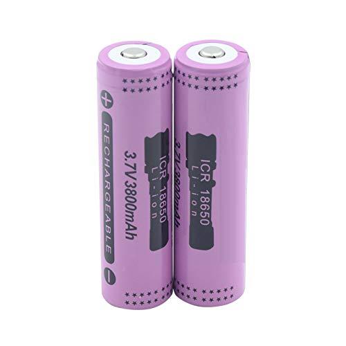 MGLQSB Batería De Litio Li-Ion De 3.7v Icr 18650 3800mah, para La CéLula De Batería Li-Ion del Banco del Poder De La Linterna 2pieces