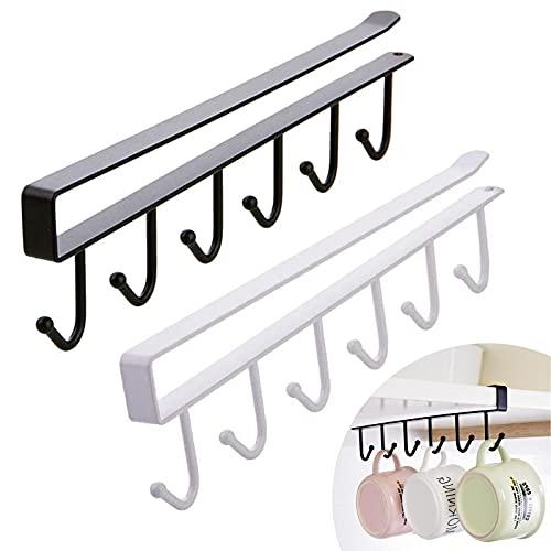Inserte el Portavasos Copas De Vino Ganchos Gancho Debajo Del Gabinete Tazas Ganchos Para Estantes Gancho Para Portavasos Multifuncional para 6 Ganchos para Corbatas Cinturones Bufandas Copa 2 Pz