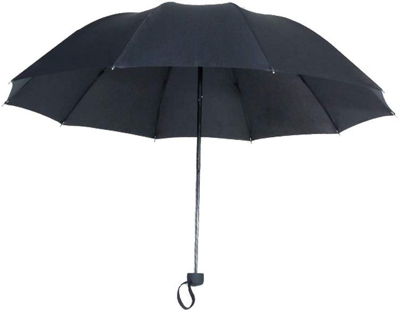 Folding Umbrella Large Canopy Ergonomic Handle 10 Ribs Windproof Sun Block Rain Guard (color   Black, Size   Free)