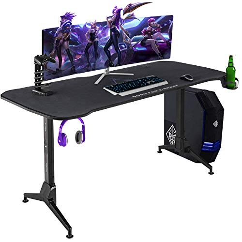 Tangkula 63 Inch Gaming Desk with Free Full Desk Mouse Pad, 3-Position Height T Shaped Gamer Table Gaming Workstation with USB Gaming Handle Rack, Cup Holder & Headphone Hook