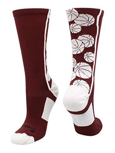 Crazy Basketball Logo Crew Socks (Maroon/White, Medium)