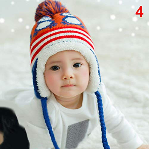 Helmay kleine kinderen jongens meisjes winter warm gebreid haakwerk Earflap beanie muts pet wol schattige pinguïn