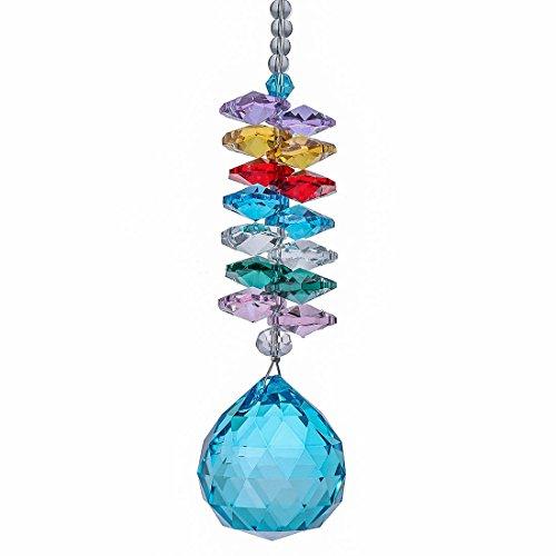 H&D Kristall Regenbogen Ornamente Fenster Sonnenfänger blau hängen Glas Kugelprisma