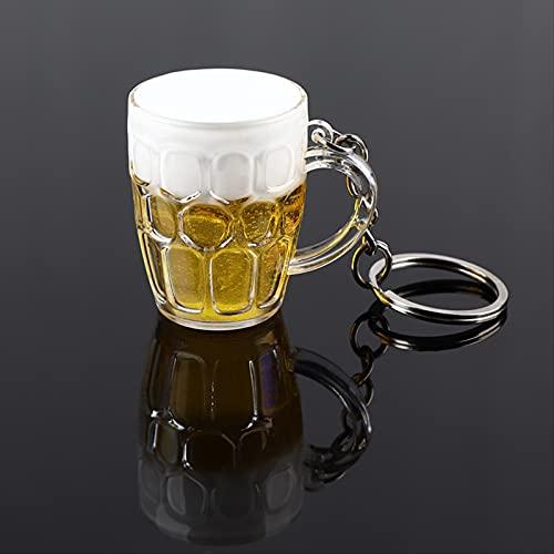 SHANGJ Creativo Fresco E Carino Mini Artigianato in Resina Birra Auto Portachiavi Unisex Donne E Uomini Simulazione Boccale di Birra Ciondolo Portachiavi Regalo