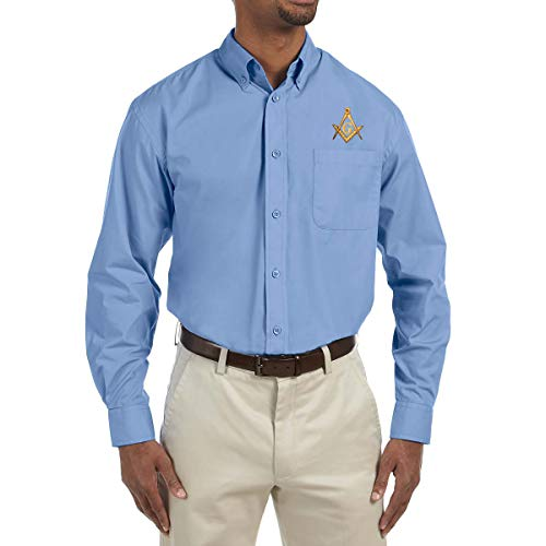 Gold Square & Compass Embroidered Masonic Men's Poplin Button Down Dress Shirt - [College Blue][X-Large]