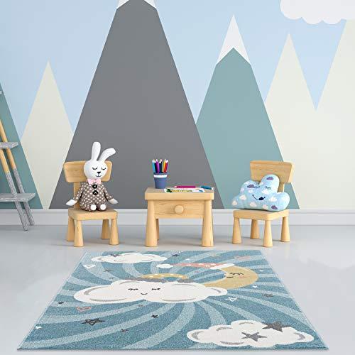 payé Alfombra para habitación infantil, color azul, 80 x 150 cm, nubes, luna y estrellas, de pelo corto, certificado Öko-Tex Standard 100, apta para alérgicos