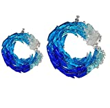 MOVERV Ocean Suncatcher Fused Glass Ornament,Wave Sun Catcher,Glass Crystal Prism Wave Pendant for Home Room Wedding Decor Accessories, Ocean Hanging Ornaments,Valentines Day Decor (5'&8')