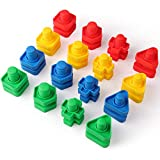Coogam 32 PCS Jumbo Nuts and Bolts Set Shapes and Colors Matching Toys Occupational Therapy Tools Screw Nut Toy Sorting Building Construction Fine Motor Skills for Toddlers Baby and Preschooler