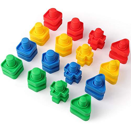 Coogam Jumbo Bouten en Moeren Bouwconstructieset Montessori-Speelgoed Ergotherapie Gereedschap Bijpassende Fijne Motoriek Voor Peuters Baby - Moer Autisme Educatief Speelgoed voor Kinderen (32 stuks)