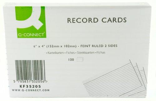 Q Connect 15 x 10 cm karta w linie - biała (opakowanie 100 szt.)
