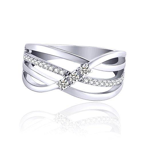 JO WISDOM Damen ring breit silber 925 mit AAA Zirkonia swarovski Verlobungsring (62 (19.7))
