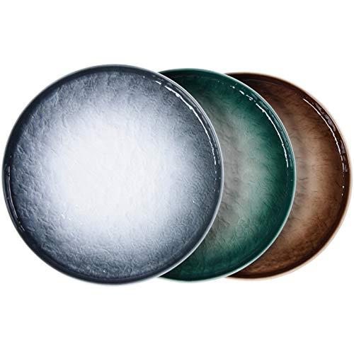 Eglaf 10'' Ceramic Round Dinner Plates - Gradient Water Wave Embossed Texture Porcelain Dish - for Steak, Pasta, Waffles, Apple Pie, Salads, Snacks, Fruit (Set of 3 - 3 Color Mix)